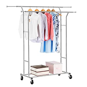 Our Rack Features Double Rails For Garments Two Lower Bars Extra Storage Your Shoes Or Container Boxes