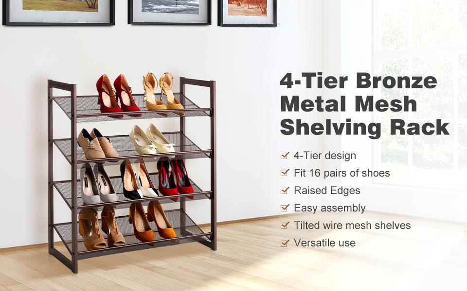 Amazon Com Langria 4 Tier Metal Shoe Rack Utility Shoe