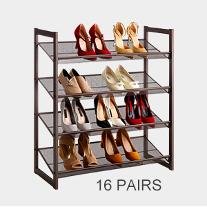 Langria 4 tier metal shoe rack utility shoe for H m bedroom slippers