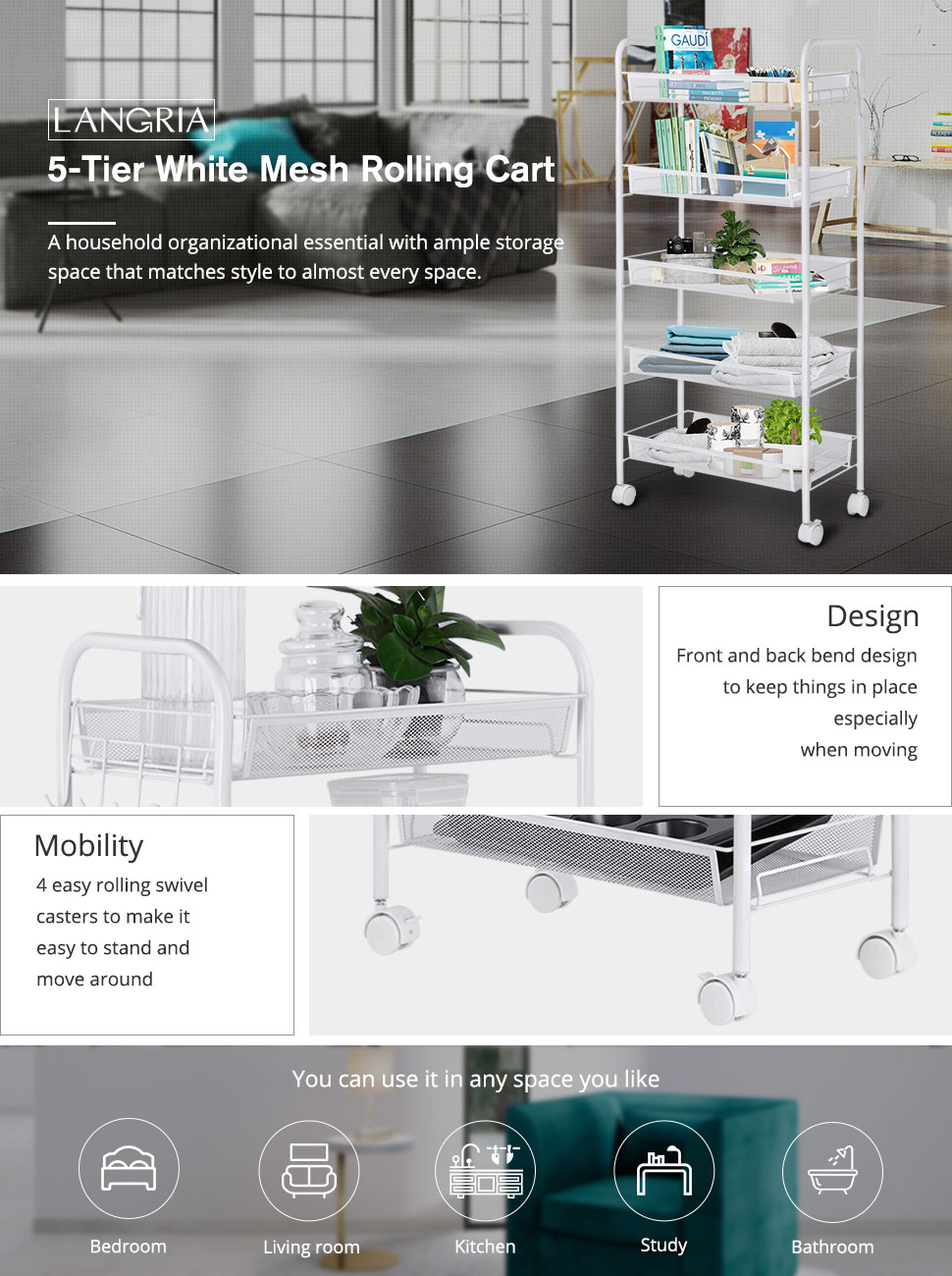 SONGMICS Rolling Cart Office for Bathroom Easy Assembly Kitchen 5-Tier Metal Storage Cart Black UBSC063B01 Utility Cart with Handles Kitchen Storage Trolley with 2 Brakes