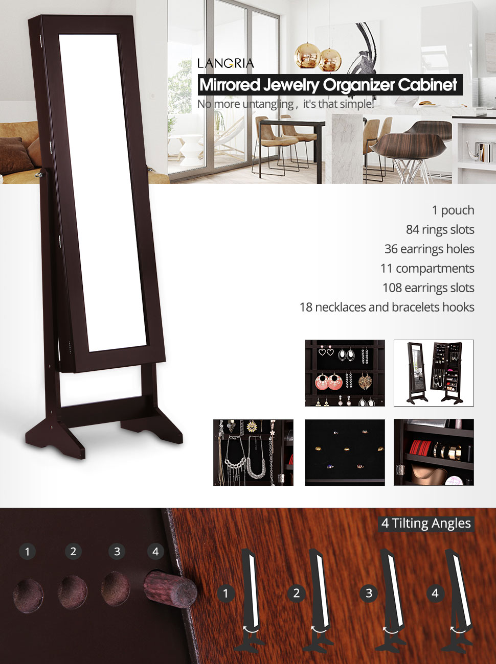 Amazoncom LANGRIA Lockable Jewelry Cabinet Jewelry Armoire with