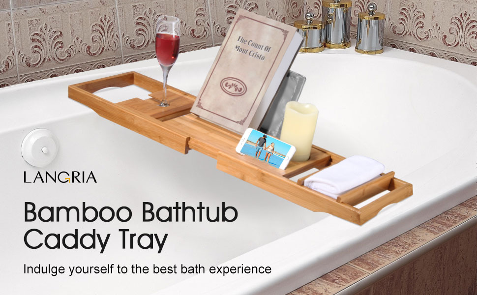 Amazon.com: LANGRIA Bamboo Bathtub Caddy Tray with Extending Sides ...
