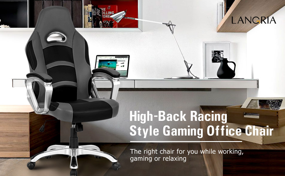 amazon com langria high back racing style gaming chair faux leather