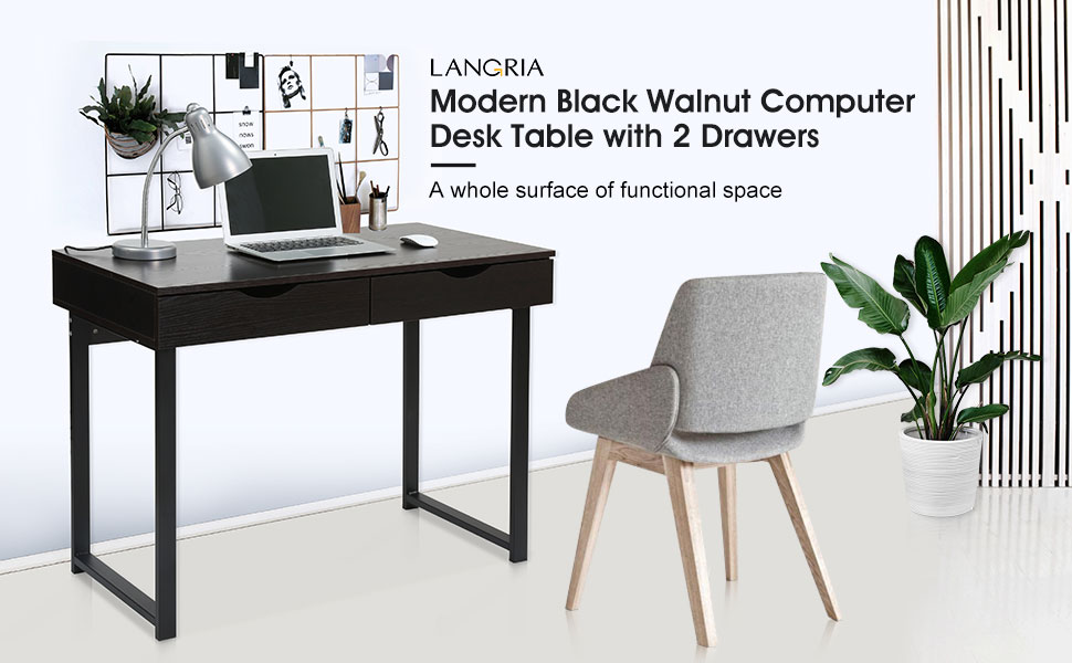 This Modern And Elegant All Black Walnut Computer Desk Has The Perfect  Working Surface To Accommodate Your Laptop, Desk Lamp, And All The  Paperwork You Need ...