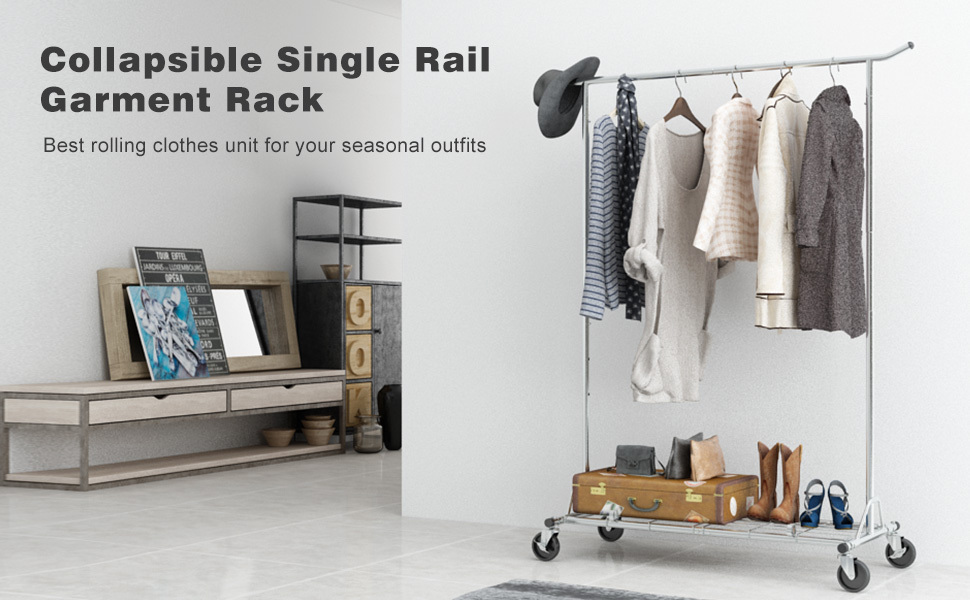 This LANGRIA All Metal Functional Single Rail Garment Rack Is A Perfect  Addition To Use In Your Bedroom And Dressing Room As A Spare Open Closet  For ...