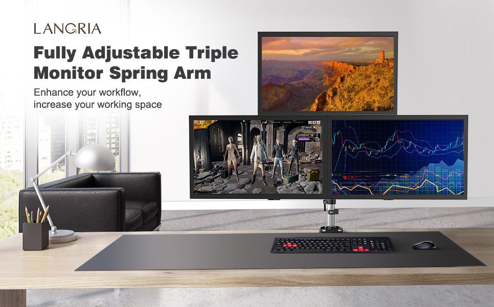 Amazon.com: LANGRIA Soporte articulado para 3 pantallas LCD ...