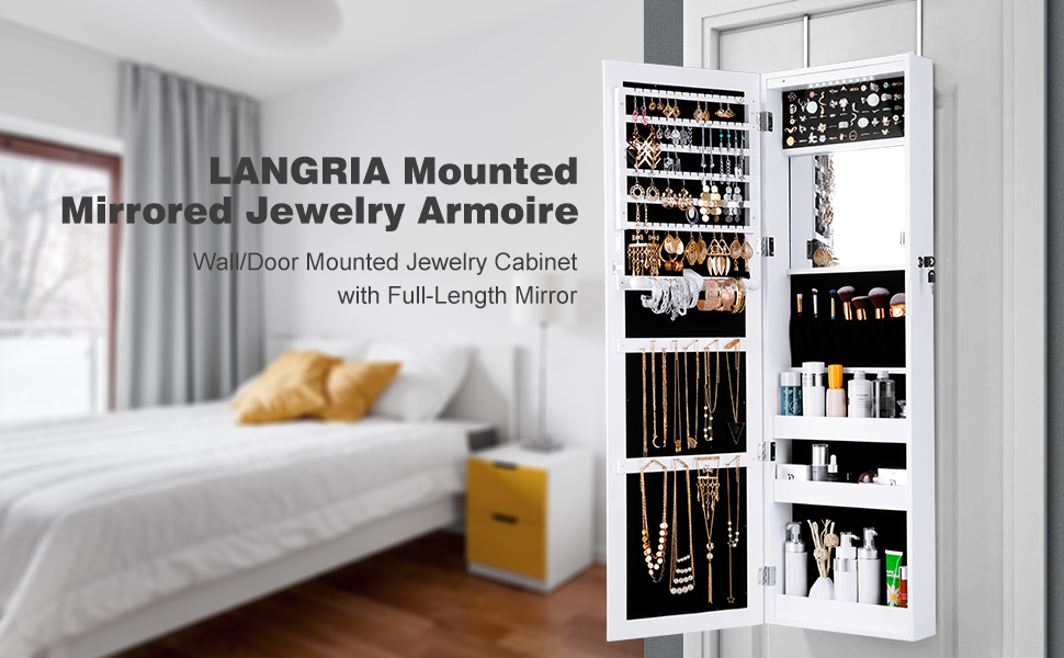 LANGRIA Mounted Mirrored Jewelry Armoire Wall/Door Mounted Jewelry Cabinet with Full-Length Mirror