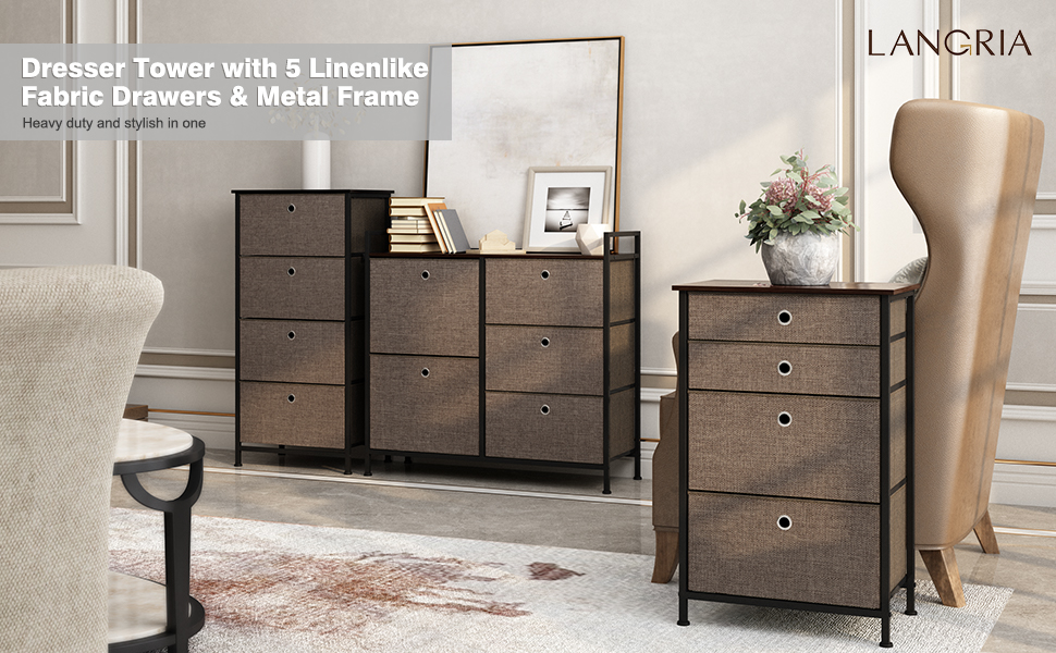 LANGRIA Home Dresser Tower With 5 Linenlike Fabric Drawers 7 Metal Frame