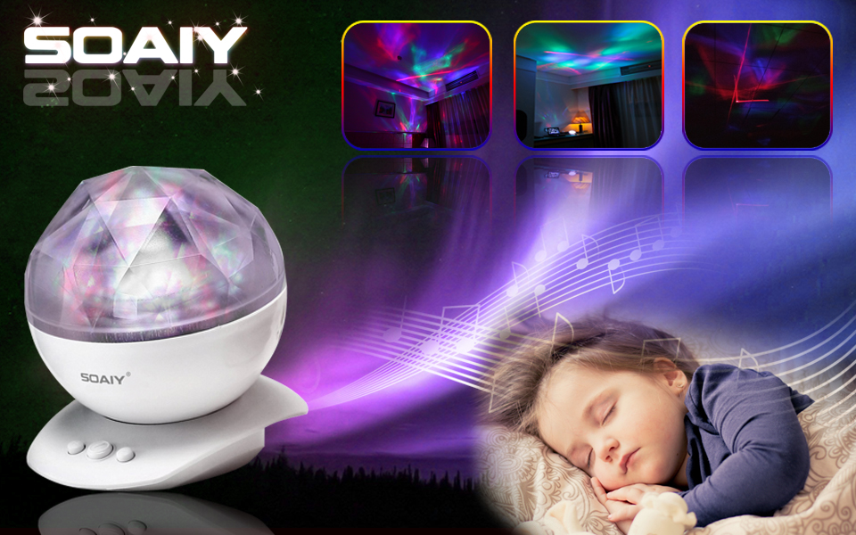 SOAIY Aurora LED Night Light Projector with Build-in Speaker