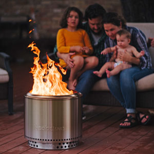 family, fire pit, deck
