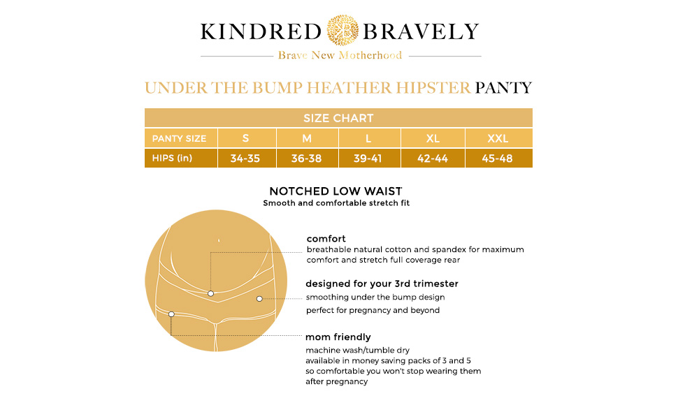 Under the Bump Heather Hipster Maternity Panties Size Chart