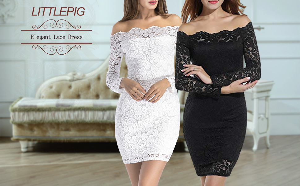 d964fb3cd3ae LITTLEPIG Women s Off Shoulder Elegant Lace Hollow Dress Long Sleeve  Bodycon Cocktail Party Wedding Dresses. dress