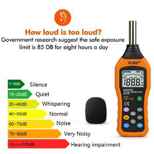 VLIKE LCD Digital Audio Decibel Meter Sound Level Meter Noise Level Meter  Sound Monitor dB Meter Noise Measurement Measuring 30 dB to 130 dB MAX Data