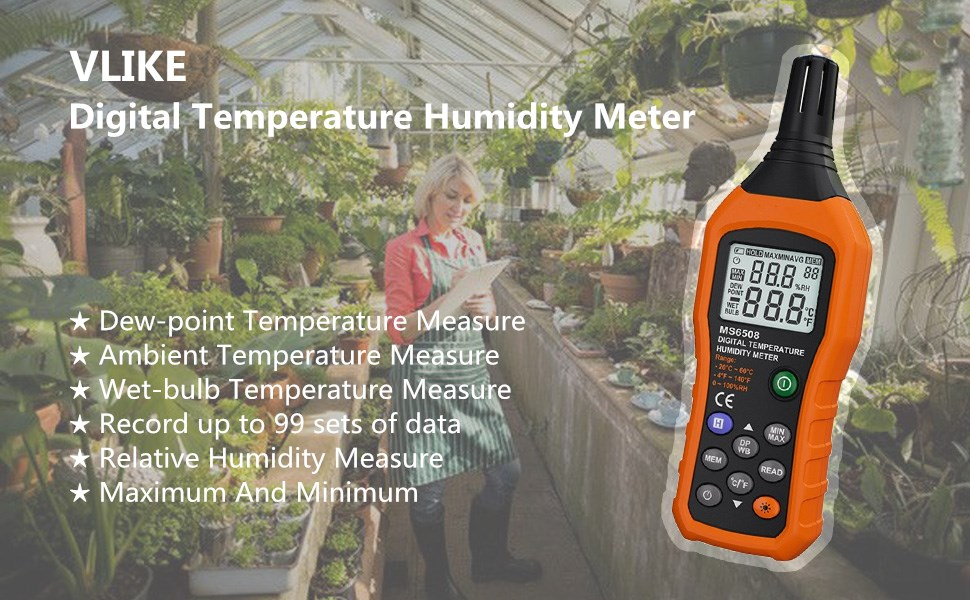 Flexzion Digital Humidity Temperature Meter Mini Hygro Thermometer Hygrometer Tester Tool Handheld with Dew Point and Wet Bulb Sensitive Sensor