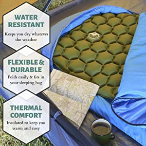 Inflatable Sleeping Pad for Festivals, Hiking, Outdoor Recreation and More
