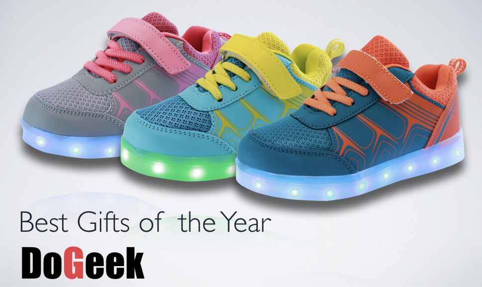 DoGeek Led Shoes Girls and Kids with 7 Colors Light Yellow Boys Choose One Size Up Led Light Up Shoes for Toddles