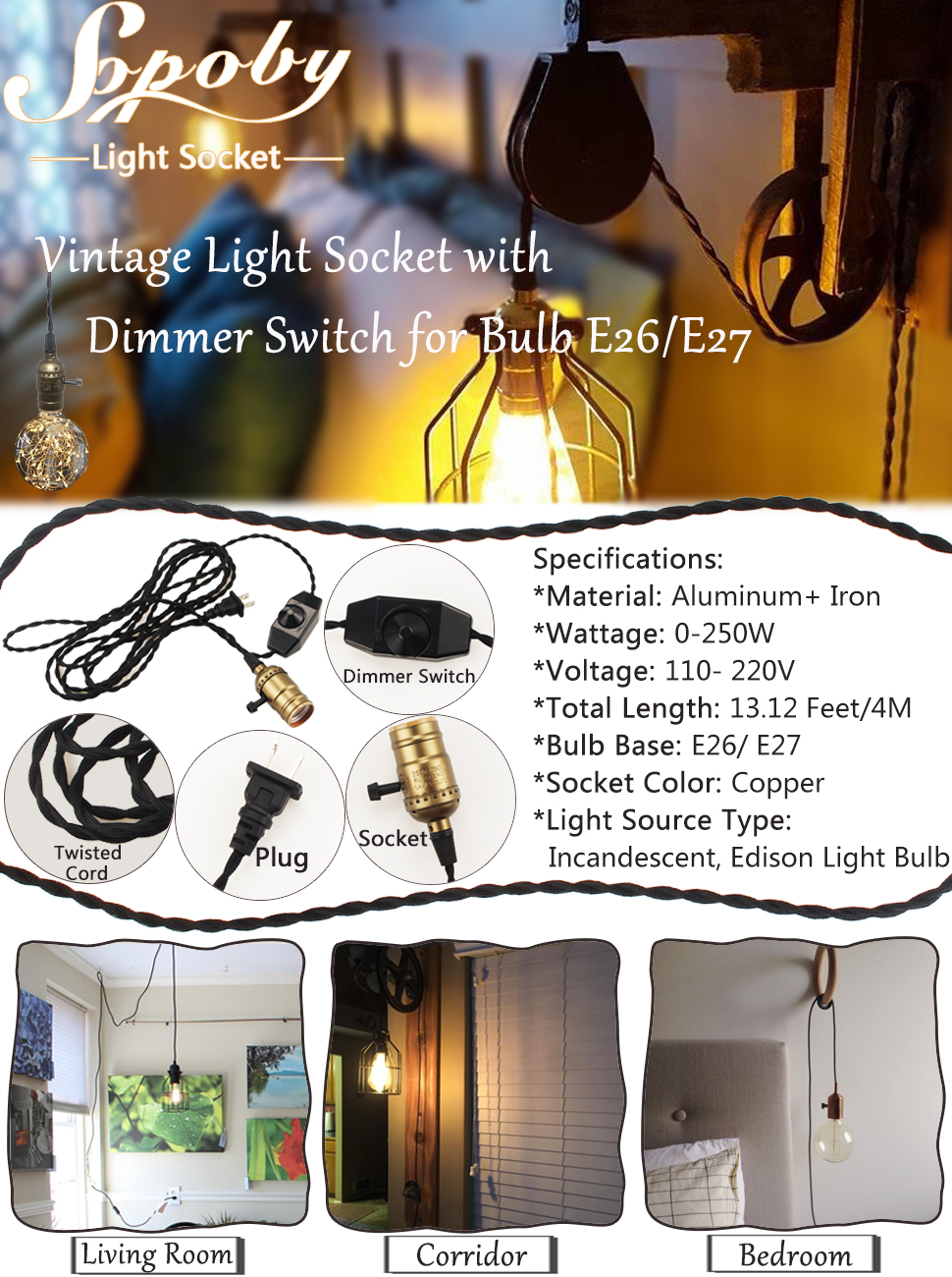 Details about e27 type plug in hanging pendant light fixture lamp bulb - Vintage Light Socket With Dimmer Switch For Bulbs Edison E26 E27 Black Twisted Cord