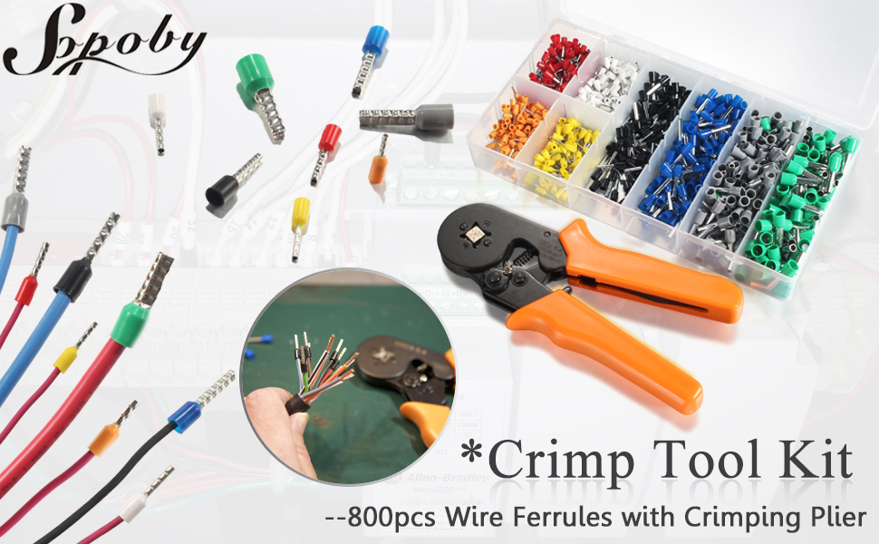 Sopoby Ferrule Crimping Tool with 800pcs Wire Ferrule Terminals Kit ...