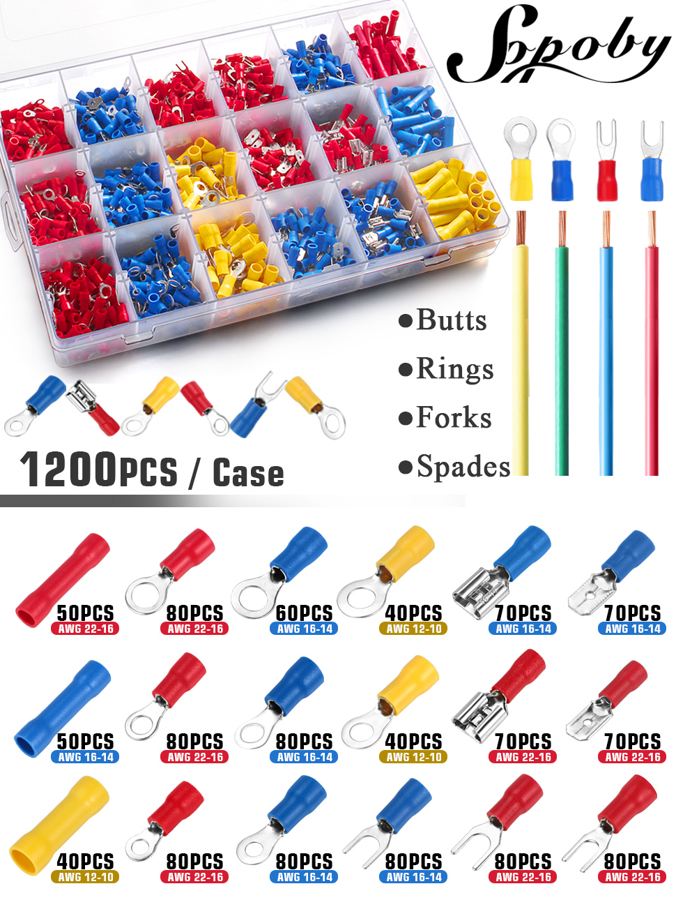 smseace 300pcs Ring//Butt//Spade//Fork Quick Disconnect Insulated Electrical Wire Connectors terminals AWG 22-16 16-14 12-10 Wire Connector Electrical Crimp Terminal for Automotive Home Wiring SM-06