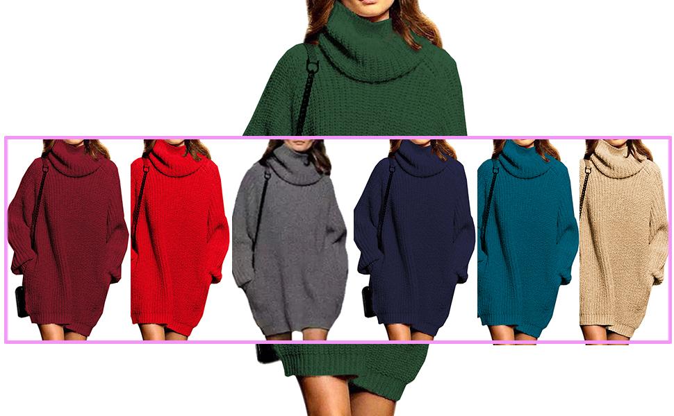 c97d0fdd28 Fengtre Women Cowlneck Loose Long Pullover Sweater Dress