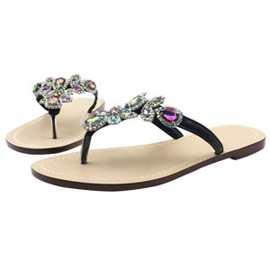 Ladies Decorated Embellished Flip Flops with Crystals and Butterflies S 56
