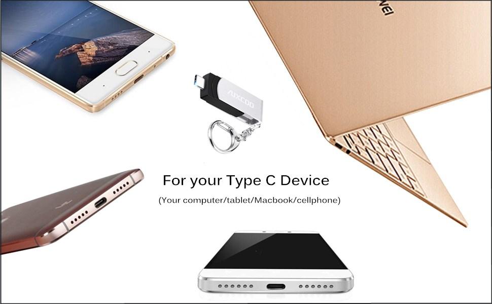 Amazon.com: auxcoo 32 G 64 G tipo C Dual Flash Drive (USB-A ...