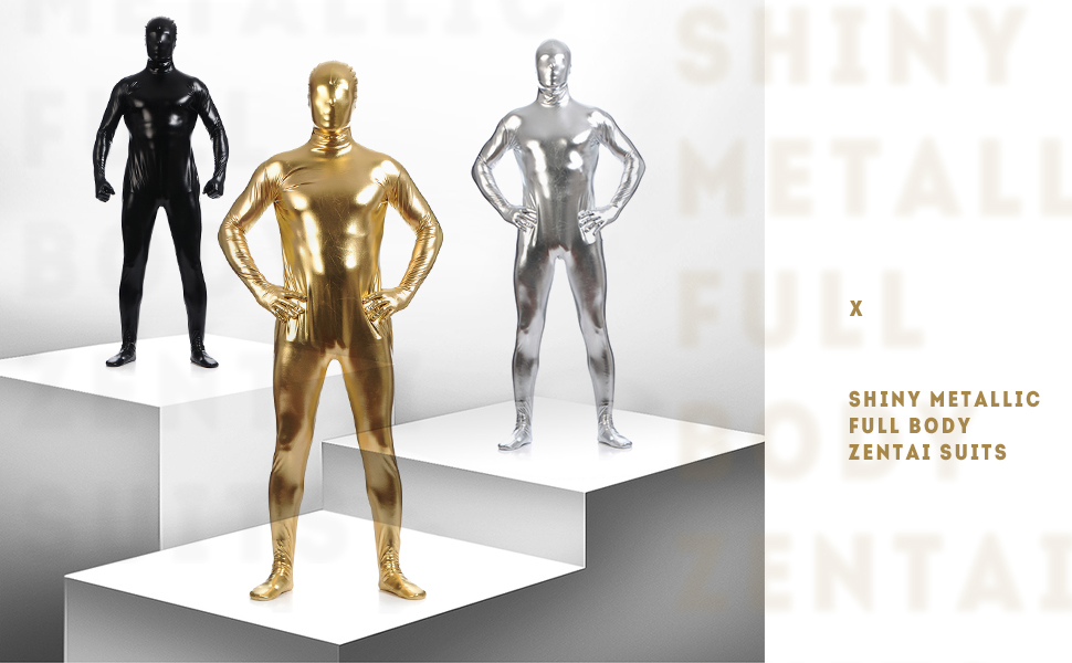 Amiliashp Unisex Halloween Costume Zentai Suit Full Body Spandex Shiny Metallic Unitard Second Skin Bodysuit Super Suit