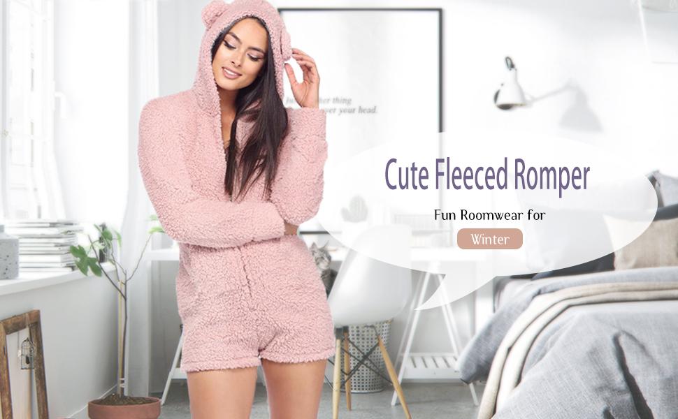ee75de82f4 Amazon.com  Amiliashp Womens Cute Sherpa Romper Fleece Onesie Pajama ...