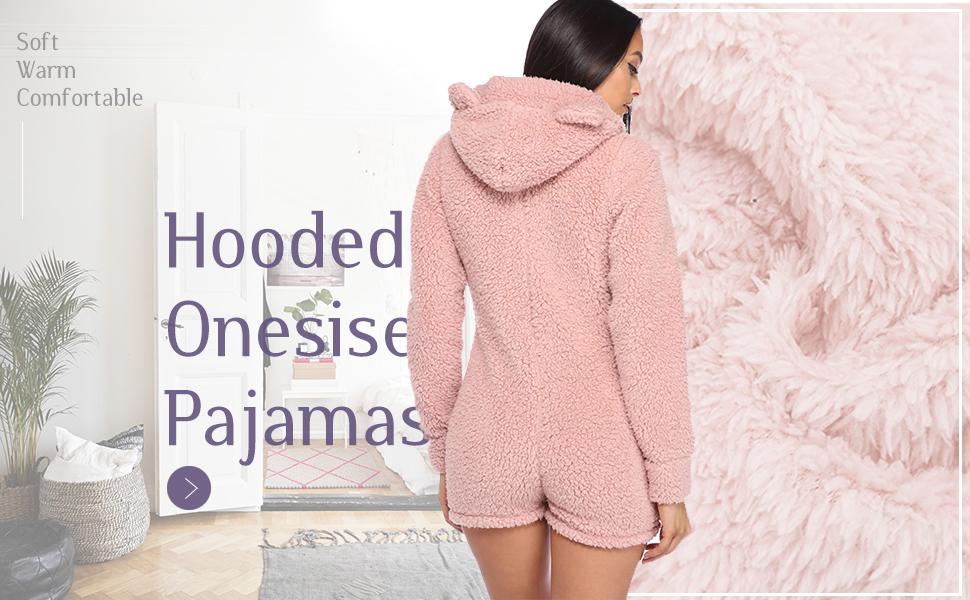 3c6a84109dfc Amazon.com  Amiliashp Womens Cute Sherpa Romper Fleece Onesie Pajama ...