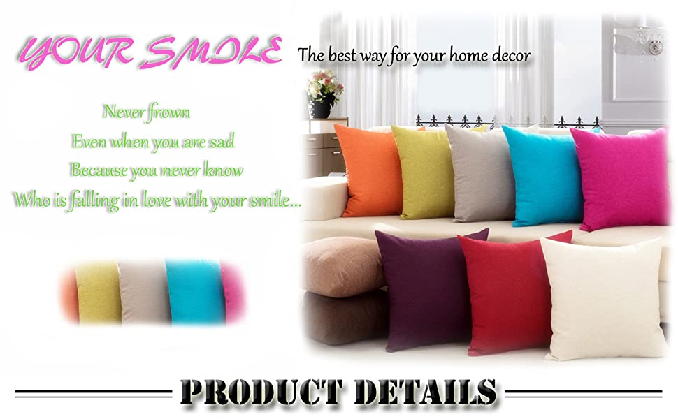 Amazon.com: YOUR SMILE Almohadones decorativos cuadrados ...