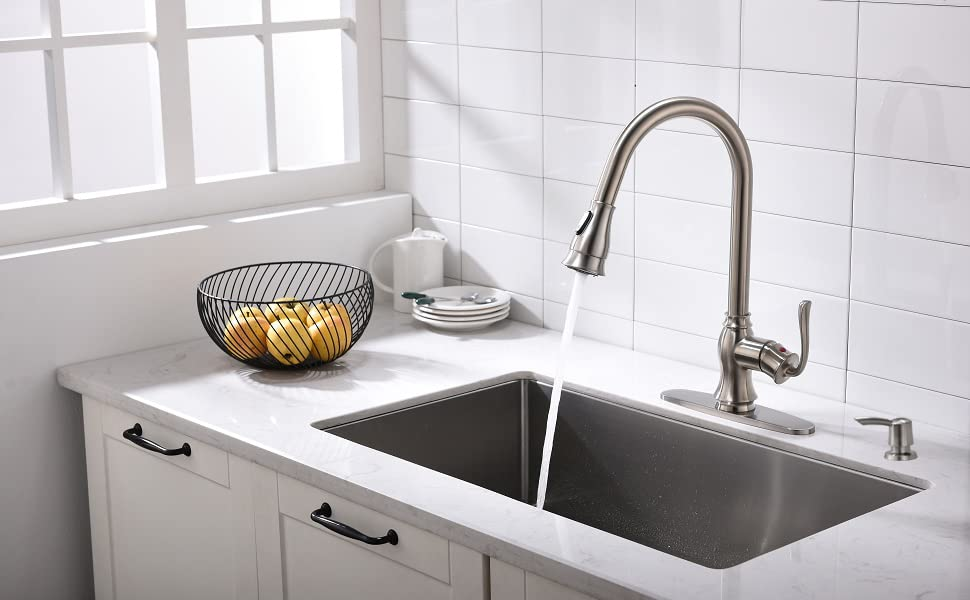 Pull Down Kitchen Faucet with Sprayer and Soap Dispenser - Brushed Nickel  Stainless Steel Commercial Single Handle Pull Out Kitchen Sink Faucets with  ...