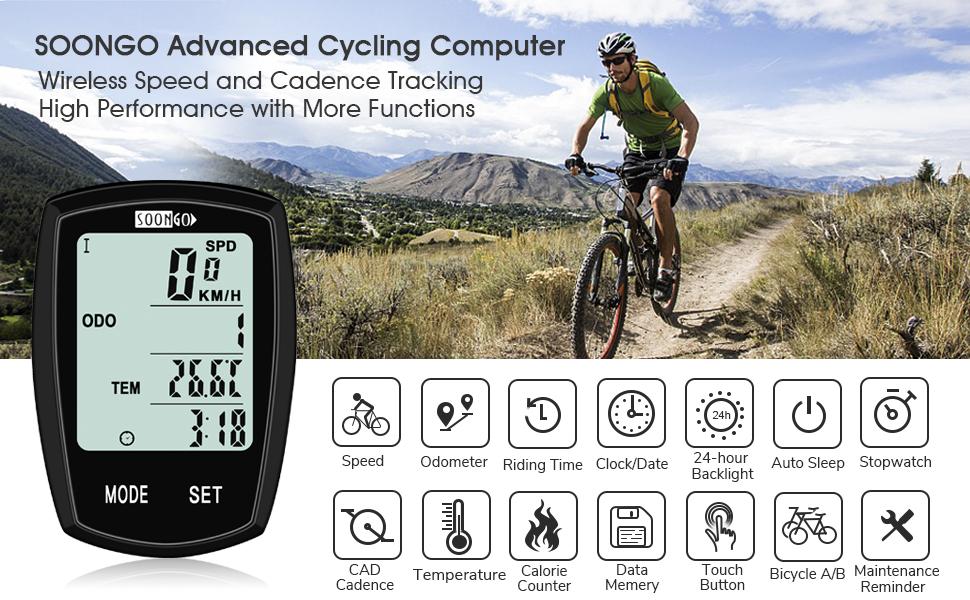 SOON GO Bicycle Speedometer Wireless Bike Computer Cadence IPX6 Waterproof  Bike Odometer Speedometer Multi-Functions with Backlight, Temperature,