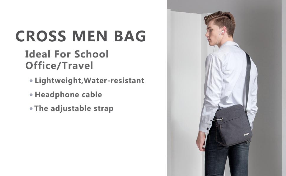TINYAT Fashion Mens Crossbody Shoulder Bag Messenger Bag Fits 10.1 iPad and Tablets T550 Blue