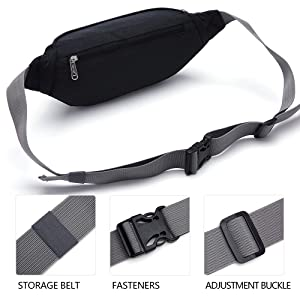 Fantasyworld Synthetic Adjustable Strap New Unisex Pocket Sling Bag Sports Running Travel Security Waist Bum Bags Black