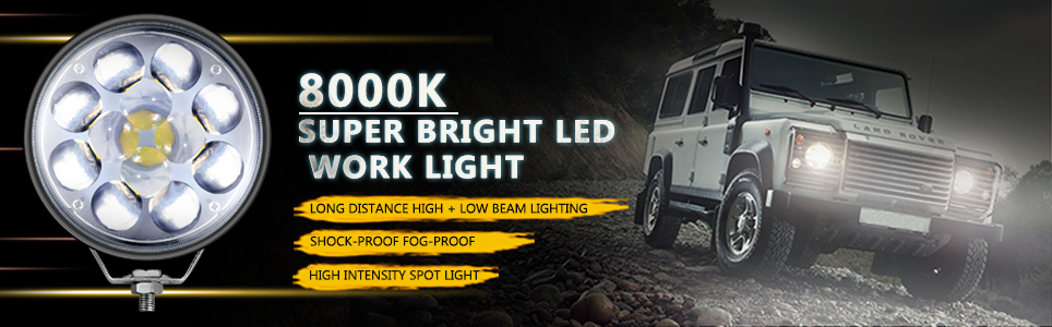 voltage automotive 5 Inch Round 36W LED Spot Light Dual Beam Fisheye Lens IP67