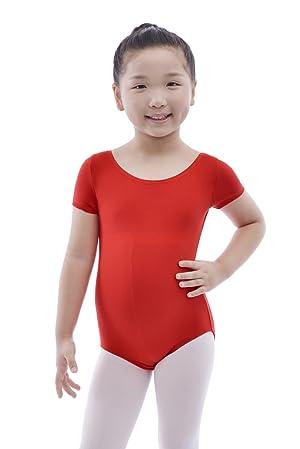 71a6a239 MAGIC TOWN Team Basic Classic Short Sleeve Leotard for Toddler Girls Ballet  Dance - Red