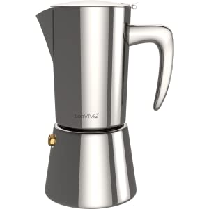 bonVIVO Intenca Stovetop Espresso Maker, Italian Espresso Coffee Maker, Stainless Steel Espresso Maker Machine For Full Bodied Coffee, Espresso Pot ...