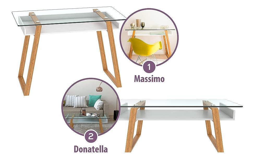 bonVIVO: Writing desk Massimo and coffee table Donatella