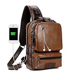 ad9f22c4f5 Amazon.com | Sling Backpack Men Vintage PU Leather CrossBody Large ...