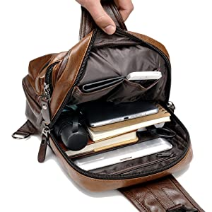 , Men Vintage PU Leather CrossBody Sling Bag Large Capacity Casual Backpack USB Charge, Luxoney