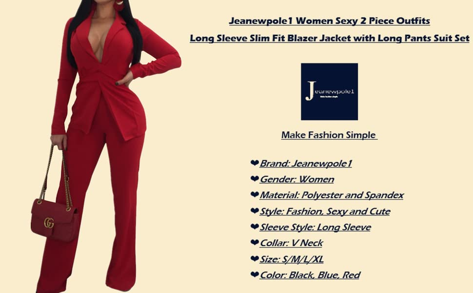 ea7af8e204d8 Jeanewpole1 Women Sexy 2 Piece Outfits Long Sleeve Slim Fit Blazer Jacket  with Long Pants Suit Set