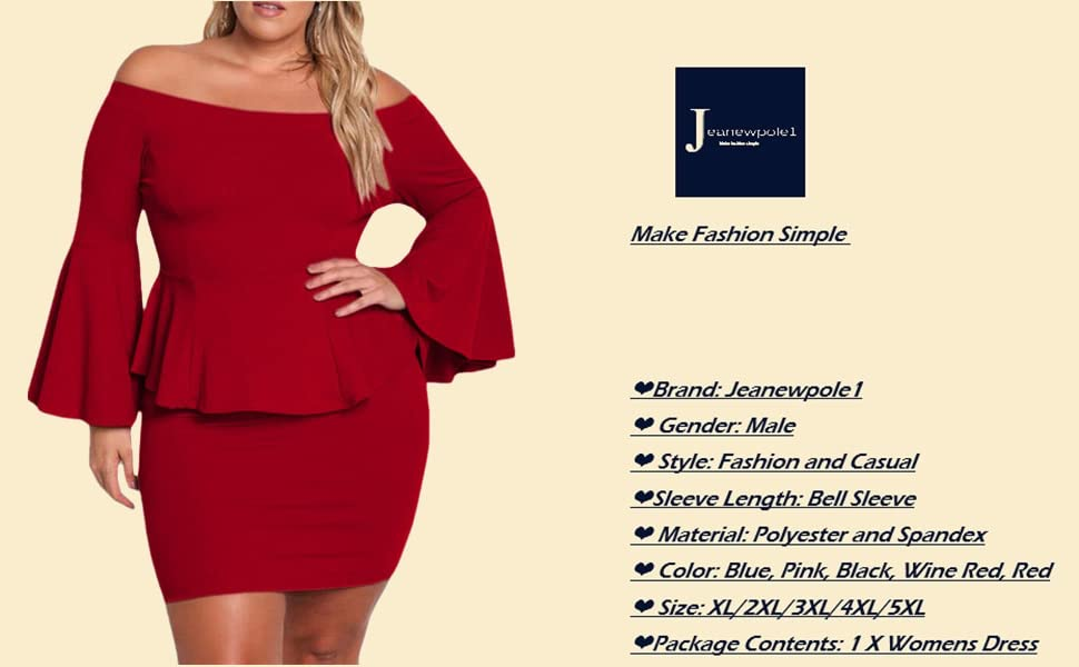 2312e4651261 Jeanewpole1 Women Plus Size Peplum Dresses Off The Shoulder Bell Sleeve  Party Sexy Short Dresses
