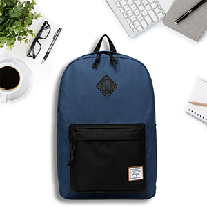 blue and black backpack