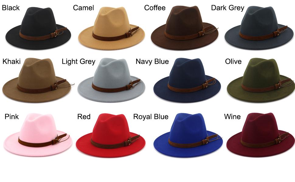 Lisianthus Men   Women Vintage Wide Brim Fedora Hat with Belt Buckle ... 79f831b16b4d