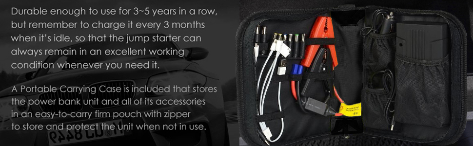 storage pouch for vehicle jump starter