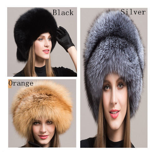 bfaaeb9b98aad Valpeak Women's Genuine Fox Fur Hat with Tail Adjustable Buckle Winter  Mongolian Hats