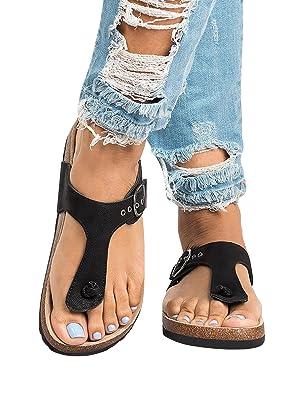 0932d7693155e4 Amazon.com  Womens Thong Sandals T Strap Slip-On Buckle Flip-Flop ...