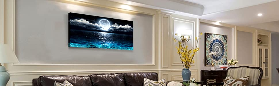 Wall Art Moon Sea Ocean Landscape Picture Canvas Wall Art Print Paintings  Modern Artwork for Living Room Wall Decor and Home Décor Framed Ready to ...