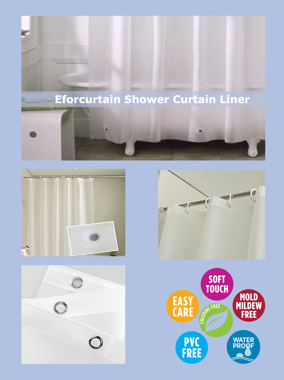 Amazon.com: Eforcurtain Modern Bathroom Liner With Magnets ...