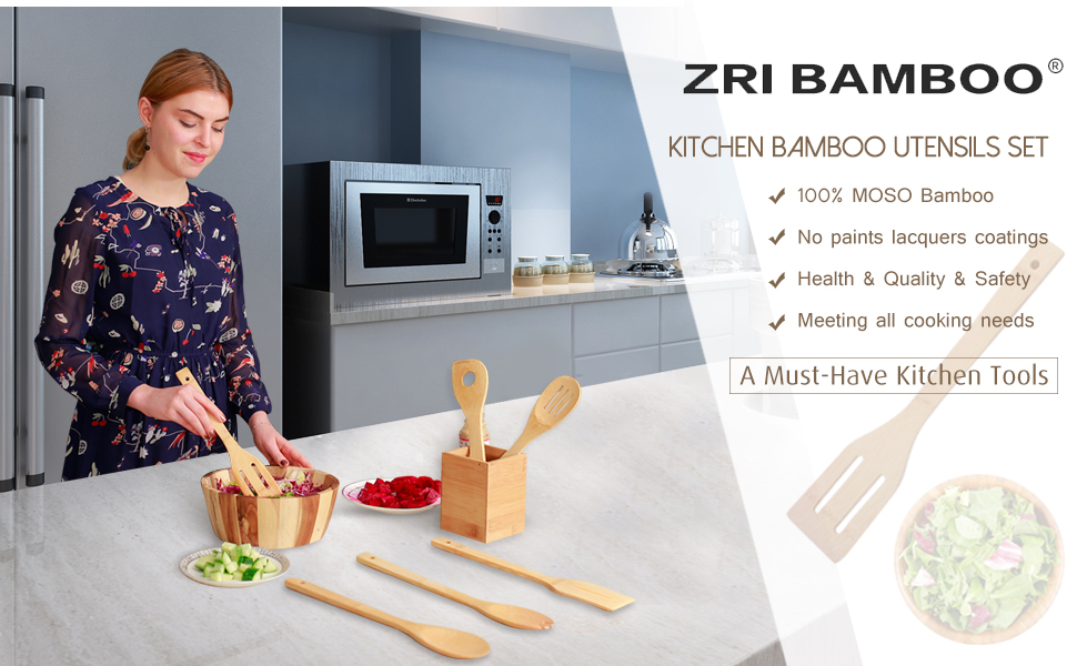 bamboo cooking utensils set spoon spatula
